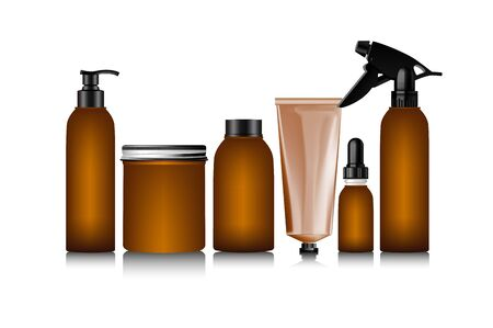 balsam: Realistic brown bottle for cosmetic cream container Illustration