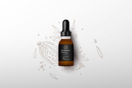 Realistic essential oil brown bottle. 일러스트
