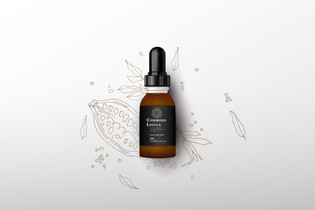 Realistic essential oil brown bottle. Illustration