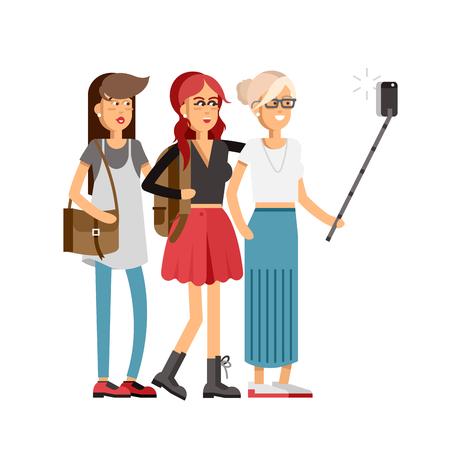 Selfie shot ofthree young girls
