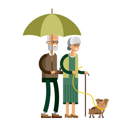 bad weather: Vector illustration of a loving couple Illustration