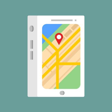 Flat modern vector icon: phone navigation.