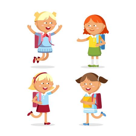 pupils with school backpacks Illustration