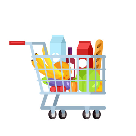 shopping trolley full of fruit and vegetable