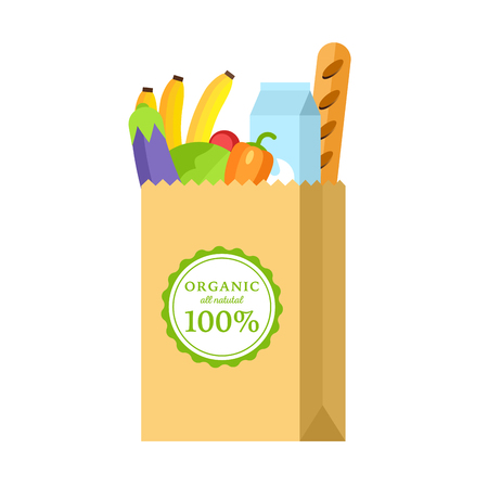 Shopping Bag With Fresh Vegetables Illustration