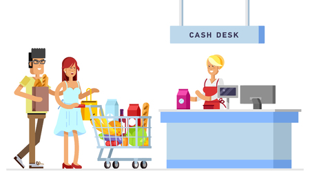 Concept illustration for shop. Vector character woman cashier in supermarket. Family shopping in supermarket. Illustration