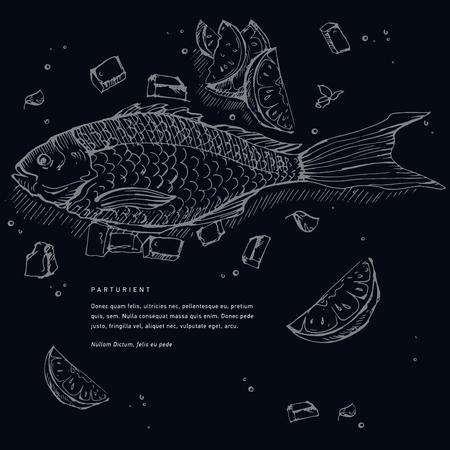 Fish illustration in dark background.