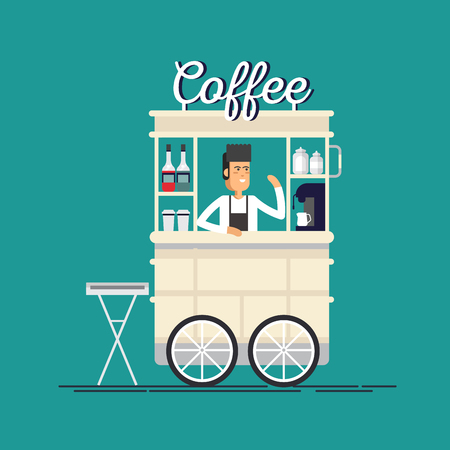 Creative detailed vector street coffee bicycle cart Illustration