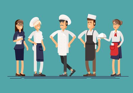 레스토랑 스탭 캐릭터의 멋진 라인업 그룹
