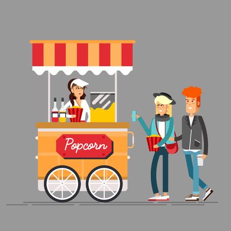 Gedetailleerde creatieve vectorillustratie op straatvoedselverkoop