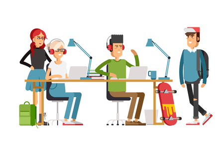 Creative people working in co  office Illustration