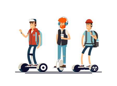 Persone attive divertimento con scooter elettrici