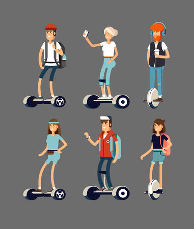 active peoples fun with electric scooter