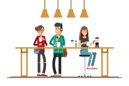 Vector afbeelding van twee meisjes in het cafe