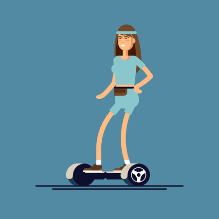 Young woman riding on two wheeled mini segway. Vector illustration in flat style of modern urban entertainment device. Illustration