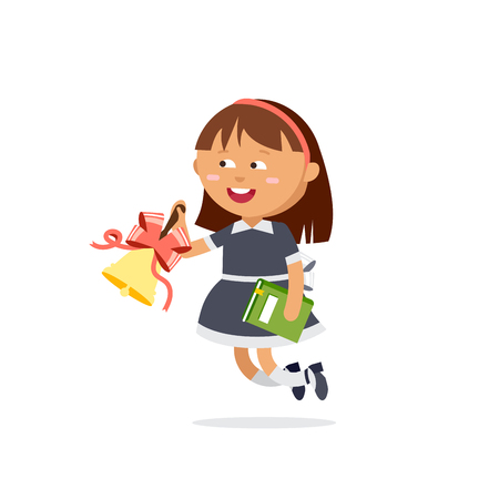 come back: Pupil dressed in school uniforms are holding textbooks and with bell. Flat illustration of young girl ring the bell. Happy kid ready come back to school.