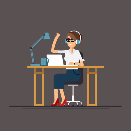 Business woman using computer Illustration