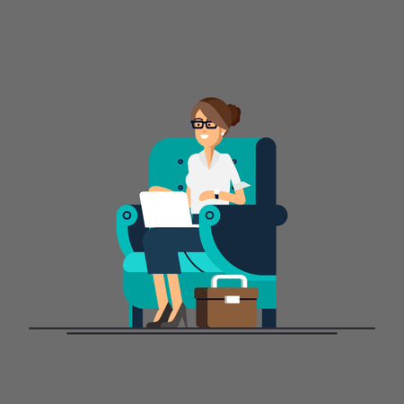 homeoffice: Young adult woman working at home vector concept illustration. Freelancer female character working from home with laptop sitting in cozy armchair with a cup of tea or coffee. Home office. Remote work
