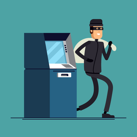 skimmer: Stock Vector isolated illustration thief steals money from ATM Stock Photo