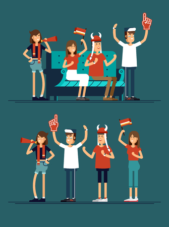 anthem: composition people with flags make up vector illustration Illustration