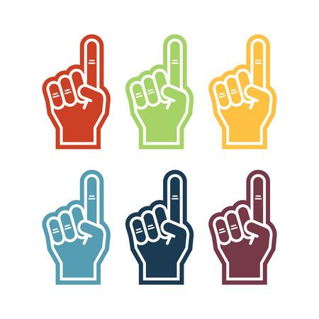 Illustration of a foam finger in six colors.
