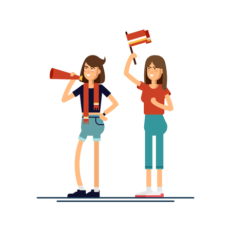 anthem: composition people with flags make up vector illustration Stock Photo