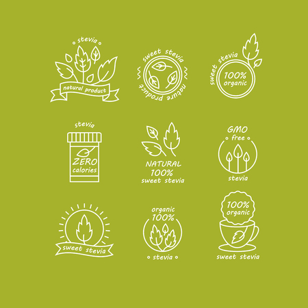 Vector set of stevia labels, logos, badges, icons. Natural sweetener design element. Organic stevia icon isolated. Eco safe stevia badge design.