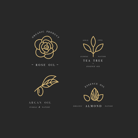 Vector set of packaging design templates and emblems in linear style - beauty and cosmetics oils - argan, rose, almond and tea tree Ilustracja