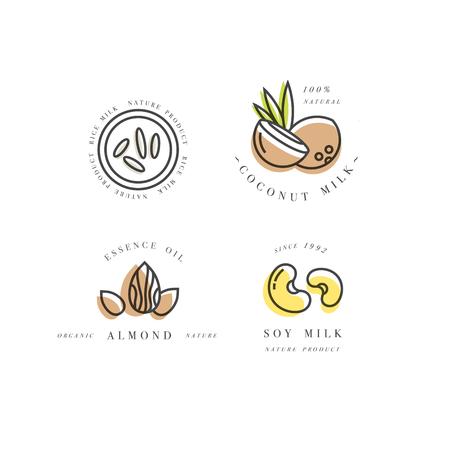 Ensemble de vecteur d'éléments de conception d'emballage et des icônes dans le style linéaire - amande, noix de coco, riz et lait de soja Vecteurs