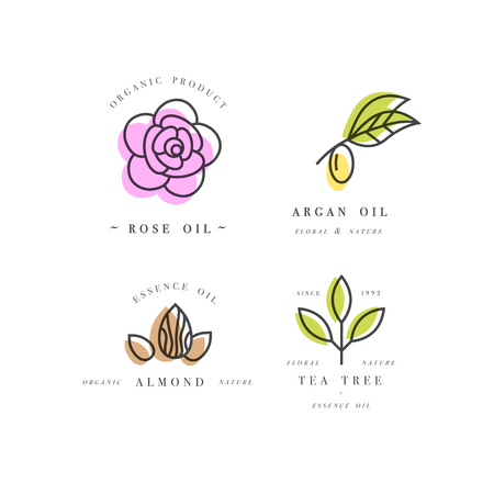 Vector set of packaging design templates and emblems in linear style - beauty and cosmetics oils - argan, rose, almond and tea tree Illustration