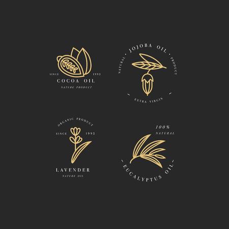 Vector set van verpakking ontwerpsjablonen en emblemen - schoonheid en cosmetica oliën - cacao, lavendel, jojoba en eucalyptus