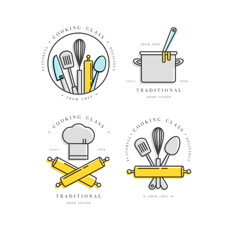 Cooking class linear design elements, kitchen emblems, symbols, icons or food studio labels and badges collection.