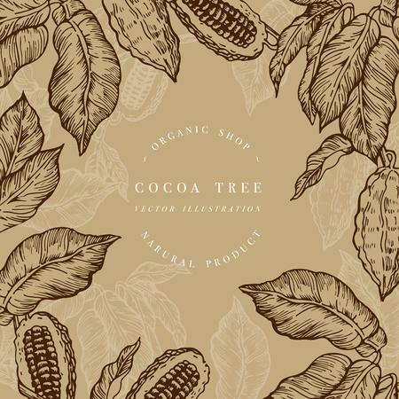 Cocoa bean tree design template. Ilustración de estilo grabado. Cacao en grano de chocolate. Ilustración vectorial