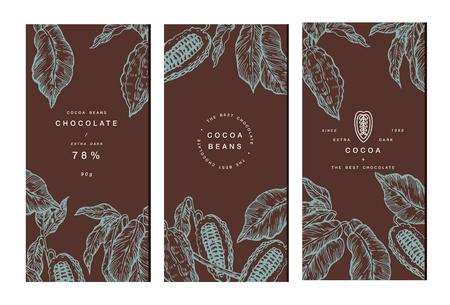 Kakaobohnenbaum-Bannersammlung. Designvorlagen. Gravierte Stil Illustration. Schokoladenkakaobohnen Vektor-Illustration