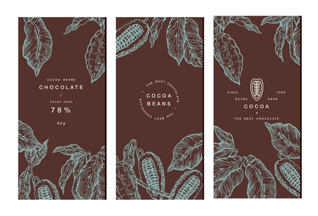 Collection de bannière d'arbre de haricot de cacao. Modèles de conception Illustration de style gravé. Fèves de cacao au chocolat. Illustration vectorielle Vecteurs