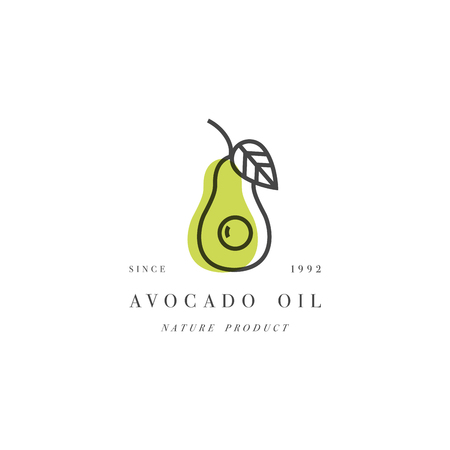 Vector set of packaging design element and icon in linear style - avocado oil