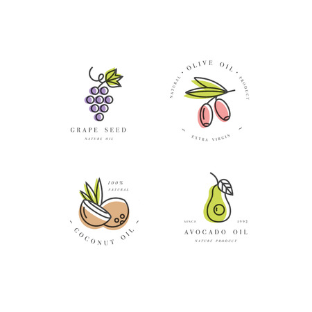 Vector set of packaging design templates and emblems in linear style - beauty and cosmetics oils - coconut, avocado, olive and grape seed 矢量图像