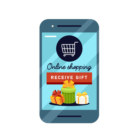 gift basket: Shopping online business conceptual flat style. Illustration