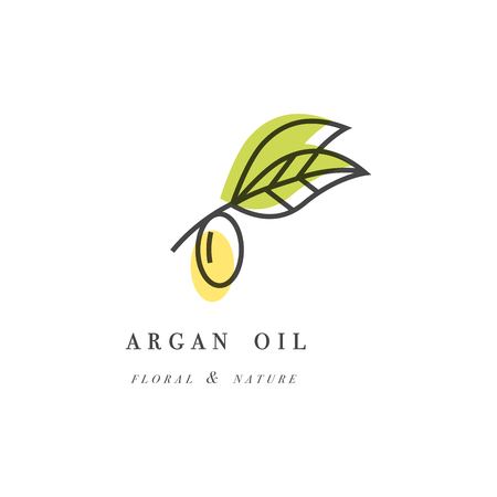 Vector set of packaging design templates and emblems in linear style - beauty and cosmetics oils - argan