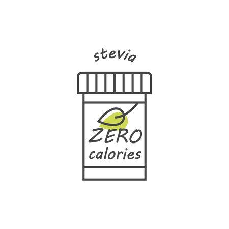 Illustration of stevia label design.