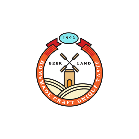 Set of linear brewery logos. Labels with bottles and hops