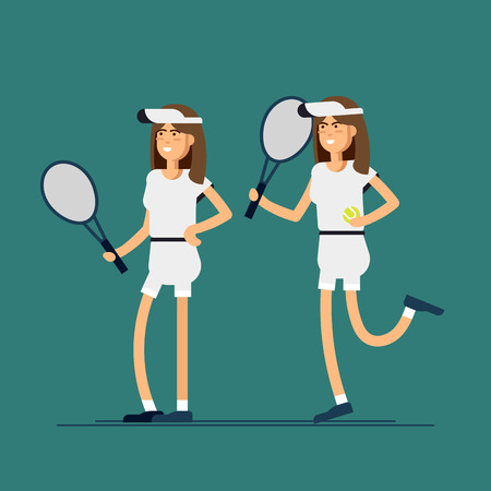 Vector illustration male and female tennis players in sport uniforms. Couple of equipped tennis players in white clothes with tennis racque , ball. Sport recreation