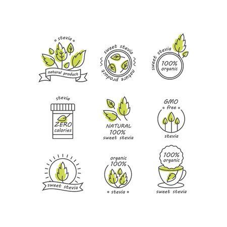 Set of stevia labels, logos, badges, icons.