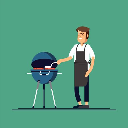 Illustration of man grilling a barbecue.