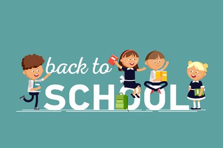 Jongens en meisjes, gekleed in schooluniformen, houden handboeken bij. De gelukkige leerlingen springen tegen een witte achtergrond. Stock Illustratie