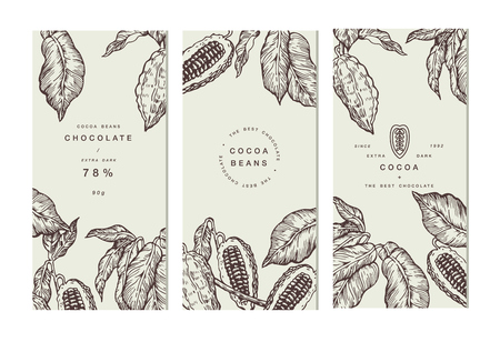 Cocoa bean tree banner collection. Design templates. Engraved style illustration. Chocolate cocoa beans. Vector illustration Çizim