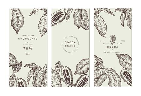 Colección de banner de árbol de haba de cacao. Plantillas de diseño. Ilustración de estilo grabado. Chocolate con granos de cacao. Ilustración vectorial Foto de archivo - 85855405