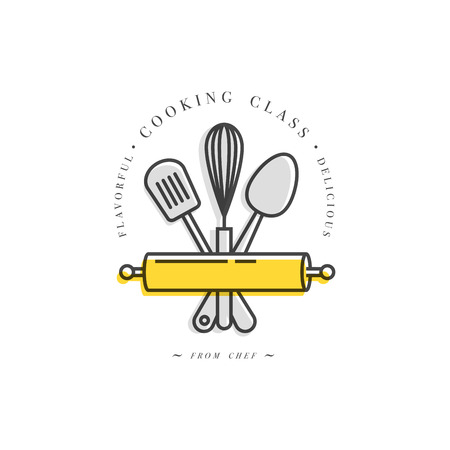 Cooking class linear design element, kitchen emblem, symbol, icon or food studio label. Cooking courses sign template or logo, identity, culinary school.