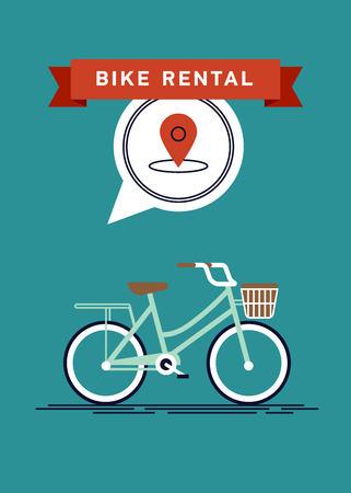 Cool vector poster or banner template on city bike hire rental tours for tourists and city visitors. Travel and tourism concept backgroundpin Ilustração