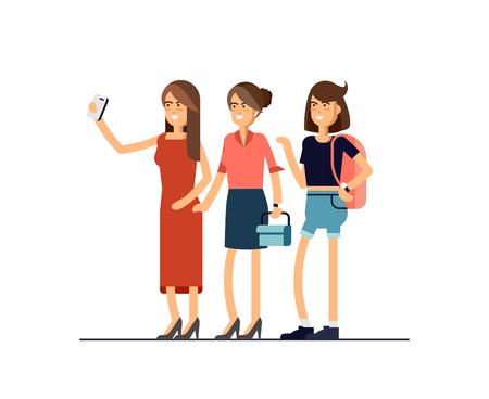 Selfie shot of three young stylish girls.